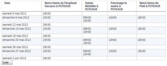 Liste horaire lieu de culte