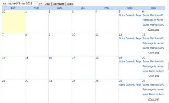 Liste horaires agenda